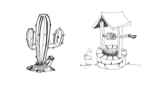 Cactus and well sketches