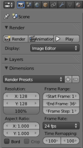 Basic render properties: 128x128, 100% resolution