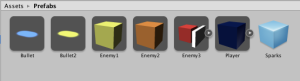 Prefabs were used to store the object types of the game.